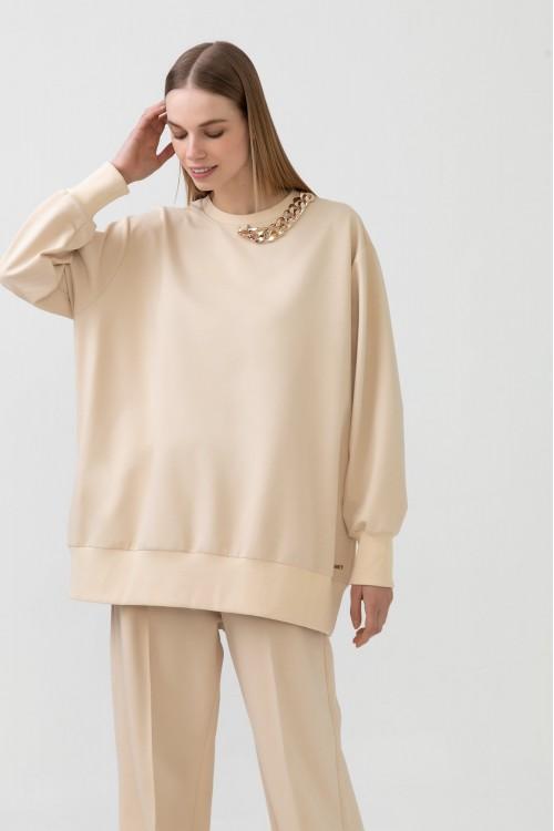 21S1G005 Touche Prive Yakası Zincirli Sweatshirt Krem