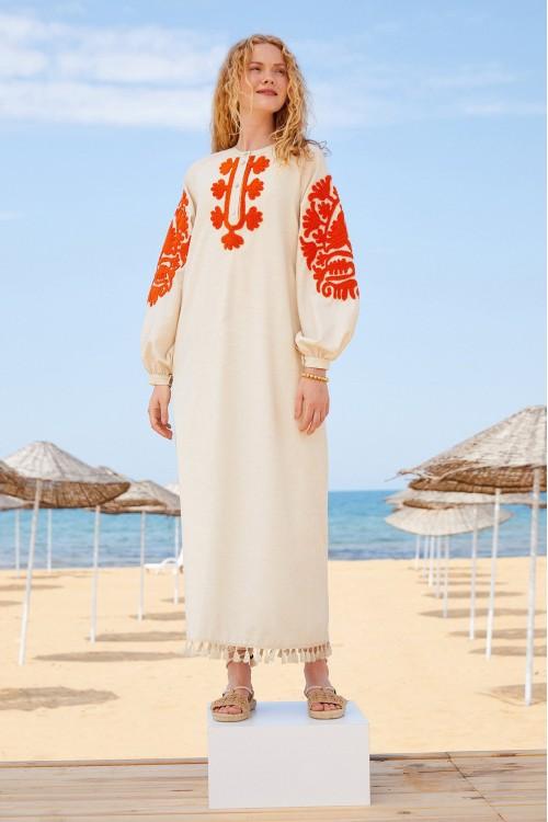 21S1V009 Touche Prive Nakışlı Keten Elbise Krem